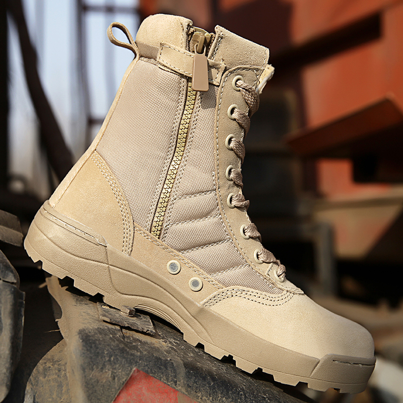 Men Military Tactical Combat Boots Swat Chukka Boot Outdoor Hiking Army Shoes UK