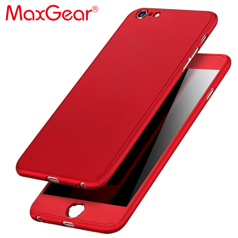 MaxGear 360 Degree Full Cover Red Case For IPhone 6 6s 7 Plus 5S 5 SE