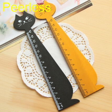 Adroit Peerless 2 Pcs/set 15cm Yellow Black Wood Ruler Lovely Cat Shape Straight Ruler Gift For Kids Birthday Gifts Bracing Up The Whole System And Strengthening It Rulers