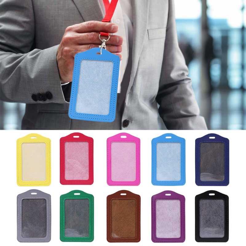 10 farben ID Fenster Business Arbeit Karte Halter Leder Fall Abzeichen Vertikalen Typ