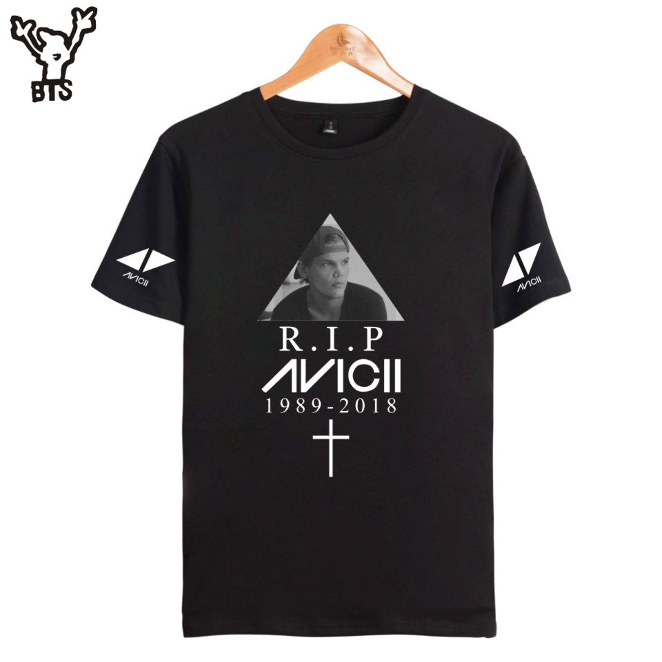 2018 BTS R.I.P Avicii Summer Hot Sale T-shirt Mens Lovely Hot Sale Casual Tshirt Hip Pop Sexy Summer Anime T-shirt Plus Size 4XL