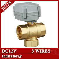 1 DC12V 3 Way T Type Motorised Valve BSP NPT 3 Wires For Water Heating Water