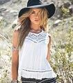 Moda feminina Sem Mangas Lace Casual Camisa Solta T Tops Blusa Colete Chiffon
