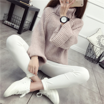 2020 Thickening turtleneck sweater female pullover Spring and winter basic shirt loose batwing sleeve long-sleeve top coarse figure print batwing sleeve top