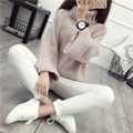 Thickening turtleneck sweater female pullover Spring and winter basic shirt loose batwing sleeve long-sleeve top coarse