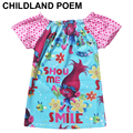 2017 Kids T-shirt 3-11Y Short Sleeves girls Clothes girls Trolls Clothes T Shirt Kids Shopkins Cartoon children trolls costume