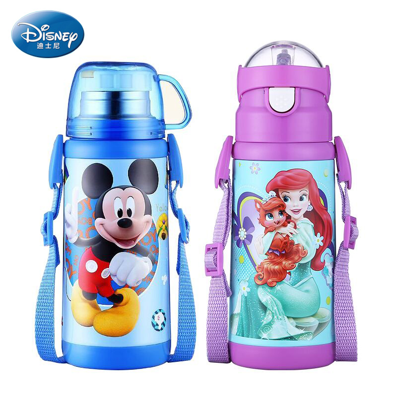 Disney Children's Thermos Feeding Cup with Straw Stainless Steel Durable Water Bottle Vacuum Flask Double Use Kettle for Kid цена и фото