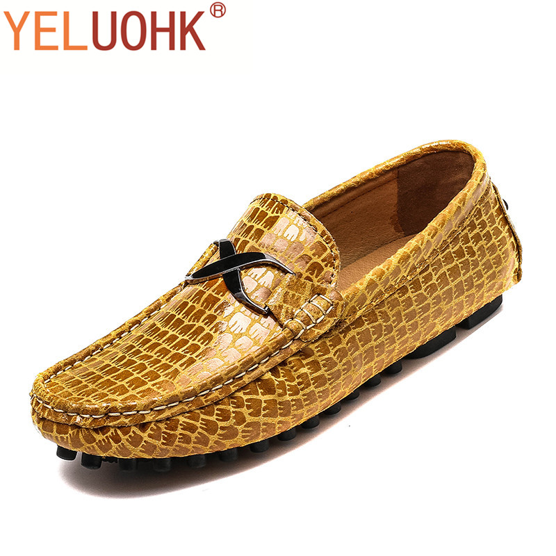 38-49 Men Shoes Casual Slip On Men Loafers High Quality Leather Shoes Men Driving Large Size branded men s penny loafes casual men s full grain leather emboss crocodile boat shoes slip on breathable moccasin driving shoes