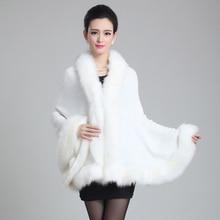 2015 das Mulheres de Inverno de alta-grade imitação xale de lã de malha gola de pele de raposa casaco de vison fur poncho xaile imitação atacado varejo