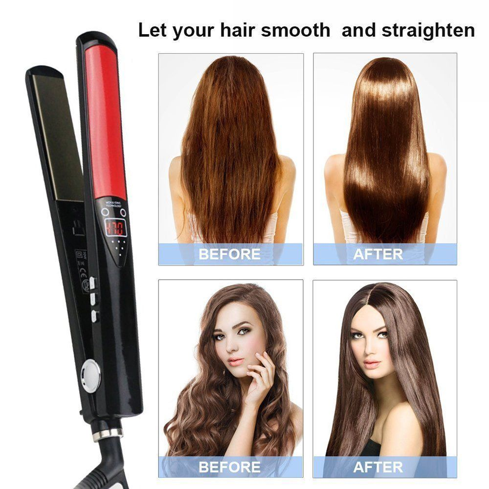 Купить с кэшбэком Titanium Plates Hair Straightener LCD Display Straightening Iron MCH Fast Heating Curling Iron Flat Iron Salon Styling Tools 700