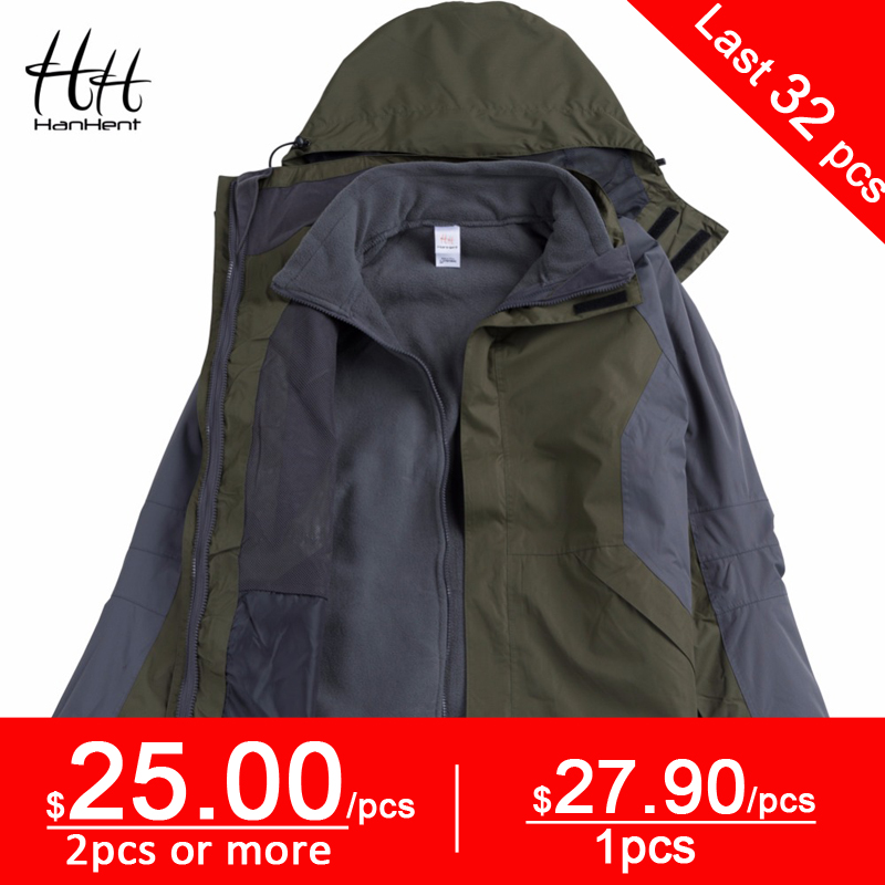 HanHent Three in One Windproof Warm Jackets Outside Men's Detachable Fleece Coat Thick Winter Fish Clothing Outerwear Top Sales