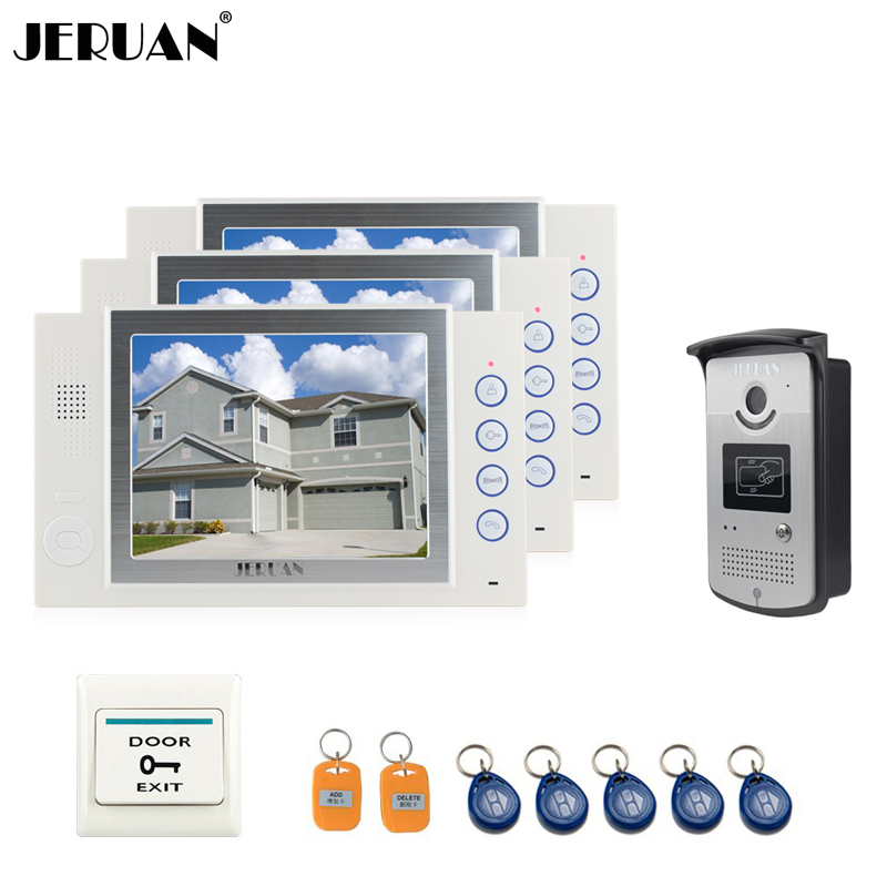JERUAN 8 inch TFT LCD video door phone doorbell intercom system access control system 5 RFID+1 EXIT BUTTO video recording 8 4inch 8 4 non touch industrial control lcd monitor vga interface white open frame metal shell tft type 4 3 800 600