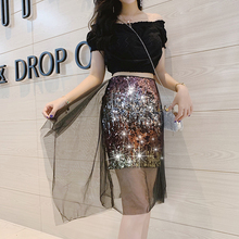Plus Size High Street Sexy Style Waisted Reflective Gradient Sequins on Black Skirts Zipper Bag Hip Tulle Short Skirt Women