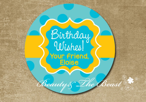 Personalized Birthday Wishes Gift Stickers Round Labels Party Favor Decorations Kids Baby Shower