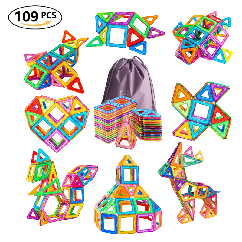 109pcs Big Size Magnetic Designer Blocks Plastic Building Construction Toys Magnetic Tiles Set Educational Toys For