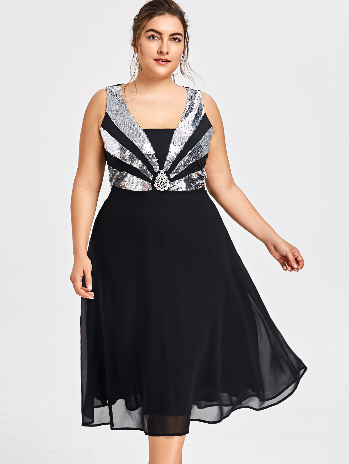 a8199c5aede6 Detail Feedback Questions about Gamiss Women Fashions Plus Size 5XL  Sequined Sparkly Glittery Flowy Party Dress Elegant Sleeveless A Line  Chiffon Dress ...