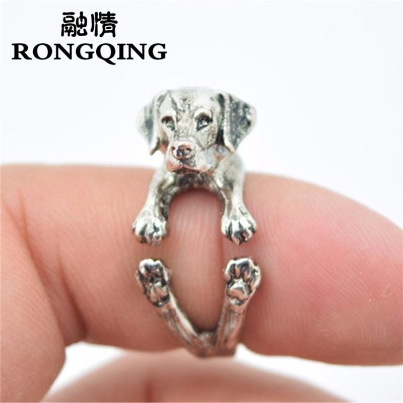 RONGQING 2018 नई रेट्रो पंक मुक्त आकार हिप्पी पशु गाइड लैब्राडोर कुत्ता जो पालतू पशु प्रेमियों के लिए अंगूठी गहने पुरुषों के छल्ले