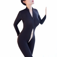 Women Crotchless Sheer Body Stocking Temptation Sexy Bodysuit Double Zipper Ouvert Catsuit Long Sleeves BodyStocking