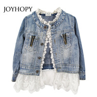 Spring Autumn Girls Outerwear Lace Cowboy Denim Jacket Top Button Costume Outfits Coat Kids Girls Clothes