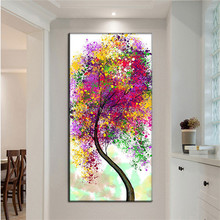 Skilled Artist Hand-painted Graffiti Flower Tree Oil Painting on Canvas vertical modern multi color tree landscape picture