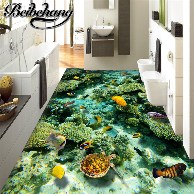 Beibehang Custom 3d Floor Mural Ocean World Living Room Decoration Wallpaper Adhesive Pvc Floor Bathroom Self-adhesive Floor Sale Overall Discount 50-70%