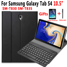 Bluetooth English Spanish Russian Keyboard Case for Samsung Galaxy Tab S4 10.5 SM-T830 SM-T835 T830 T835 Cover Funda Capa + Gift shockproof sleeve pouch bag for samsung tab s4 10 5 t830 t835 case cover for tab s4 galaxy sm t830 sm t835 10 5 inch funda cover