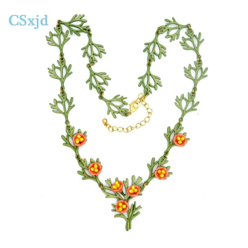CSxjd Natural Pearl Orange Poppy Flowers Retro Necklace Women's Wedding Accessories