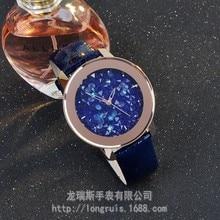 Señoras de lujo Marca Relojes Concha de Oro Correa de Cuero Genuino de Las Mujeres del Dial del Diamante Lleno Del Vestido Famale Relojes Rhinestone Relojes de Pulsera