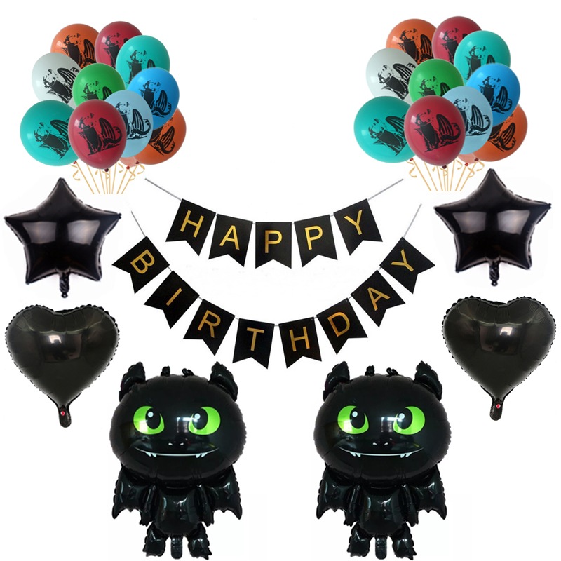 How To Train Your Dragon Balloons Toothless Foil Ballon Happy Birthday Baby Shower Party Decoration Kids Toy Boy' Dragon Globos