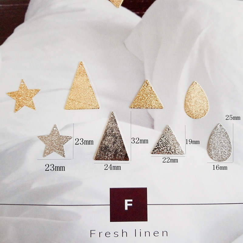 Diy earrings accessories plated copper plate geometry gold silver triangle five pointed star matte texture earrings pendant in Jewelry Findings Components from Jewelry Accessories