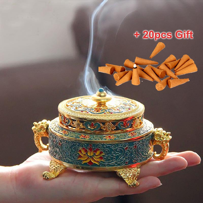 For Stick Cone Incense Metal Incense Plate Burner Lotus Shape Holder 9 Holes Aromatherapy Buddhist Craft Gift Home Decor 1pcs Incense & Incense Burners Home & Garden
