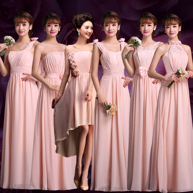 Lc475 2016 Bride Sister Bridesmaid Dresses Long Chiffon Light Champagne Pink Sisters Wedding Party Dress Code