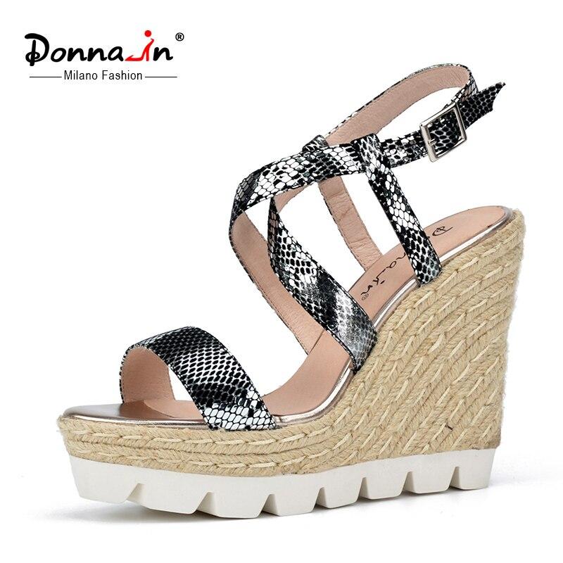 e6c6af9731c Donna-in Genuine Leather Gladiator Sandals Wedges Heel Platform Summer Shoes  Snake Pattern Sandals XWZ3996