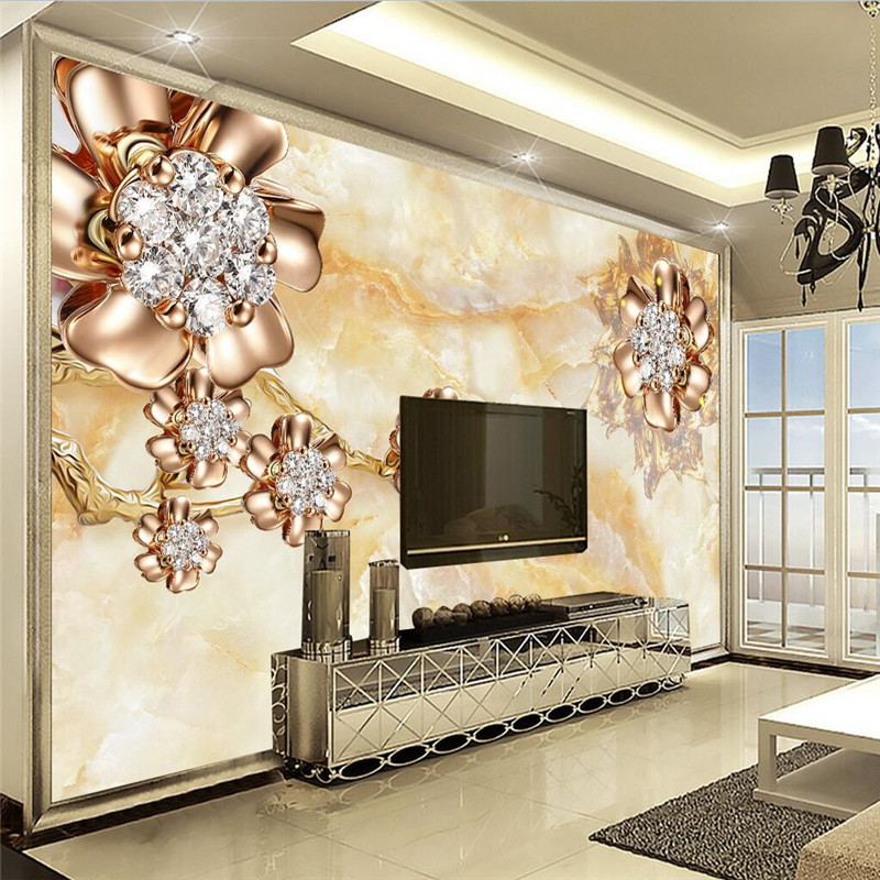 Beibehang Wall Panel 3d Wallpaper Marble Diamond Jewelry