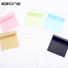 EZONE 10Pcs/Set Candy Color Envelope Kraft Paper Blank Greeting Card Postcard Credit Mini 6 Stationery Gift