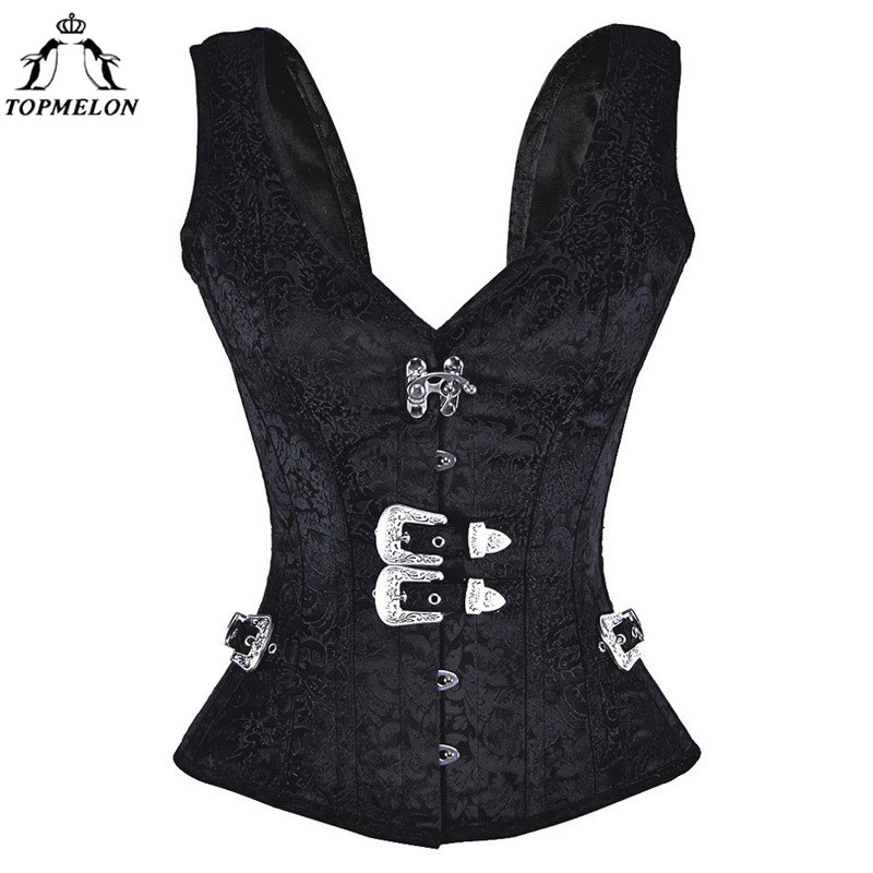 TOPMELON Vintage Steampunk   Bustier   Vest Gothic Corselet Women   Bustier     Corsets   and   Bustiers   Sexy Black Floral Silver Buckle Tops