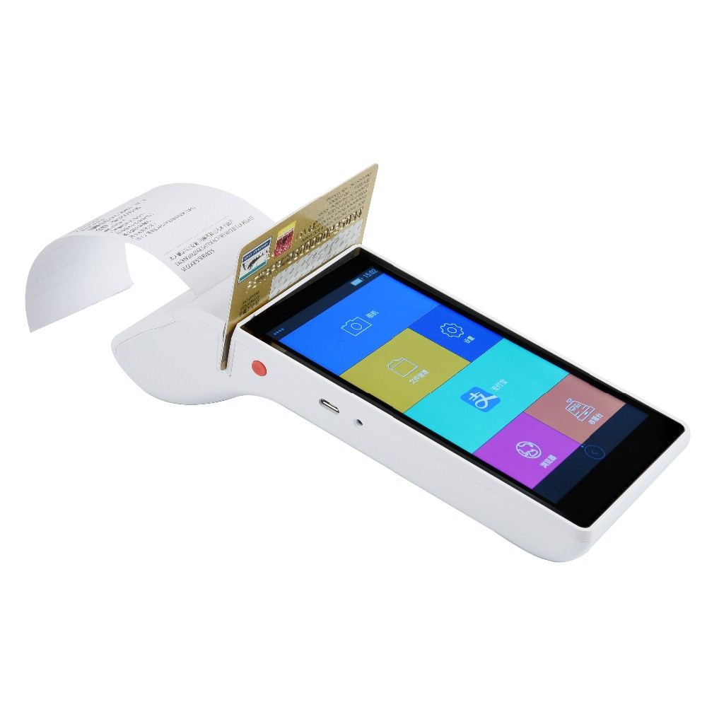 Portable De Poche POS Terminal EMV PCI Certifié Mobile Paiement Android Machine Avec NFC Lecteur De Carte De Crédit 58mm Thermique Imprimante