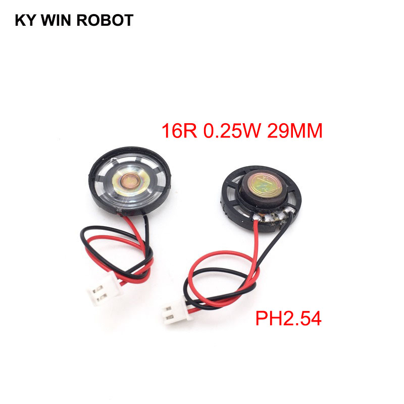 Electronic Components & Supplies Passive Components 2pcs New Ultra-thin Toy-car Horn 16 Ohms 0.25 Watt 0.25w 16r Speaker Diameter 29mm 2.9cm With Ph2.54 Terminal Wire Length 10cm Extremely Efficient In Preserving Heat