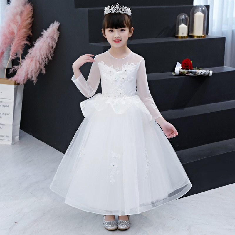 Autumn Winter New Solid Snow White Color Chilren Girls Evening Wedding Party Ball Gown Long Dress Kids Teens Piano Costume DressAutumn Winter New Solid Snow White Color Chilren Girls Evening Wedding Party Ball Gown Long Dress Kids Teens Piano Costume Dress