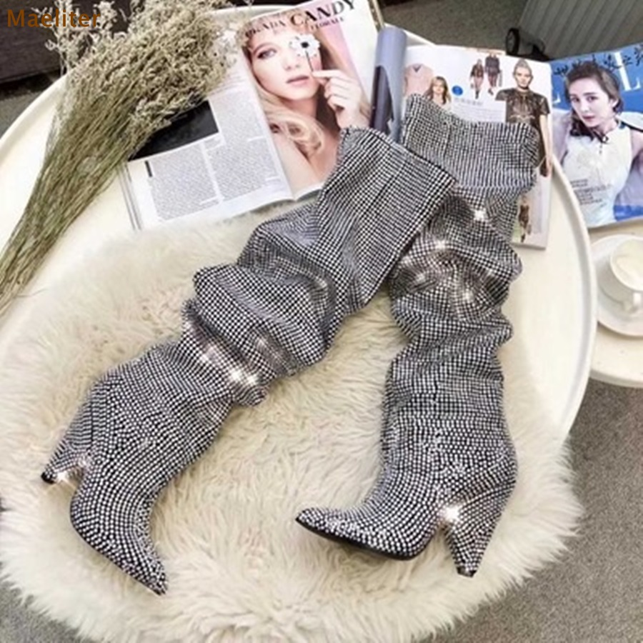 Women Brand Sparkling Wedding Shoes Exquisite Silver Crystal Dress Boots Knee Boots Spike Heel Fall Winter Folded Chic Boots