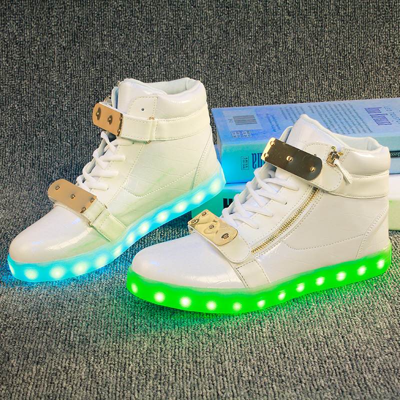 Fashion Kids Sneakers Children's USB Charging Luminous Lighted Sneakers Boy/Girls Colorful LED lights Children Shoes size 28-37 2018 new kids glowing sneakers with light spiderman usb charging luminous lighted sneakers boy girls colorful led children shoes