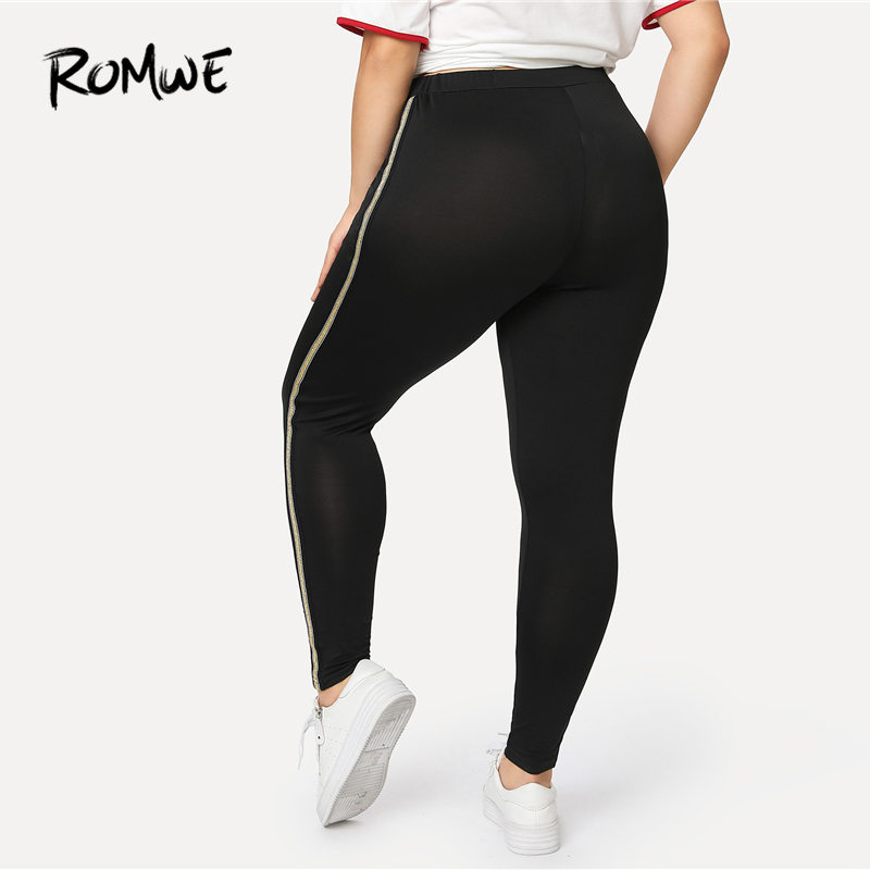Romwe Sport Plus Size Black Ringer Side Women Yoga Tights 2018 New Autumn  Solid Polyester Fitness Leggings Female Running Pants-in Running Pants from  Sports ... 3ba282a00fe3