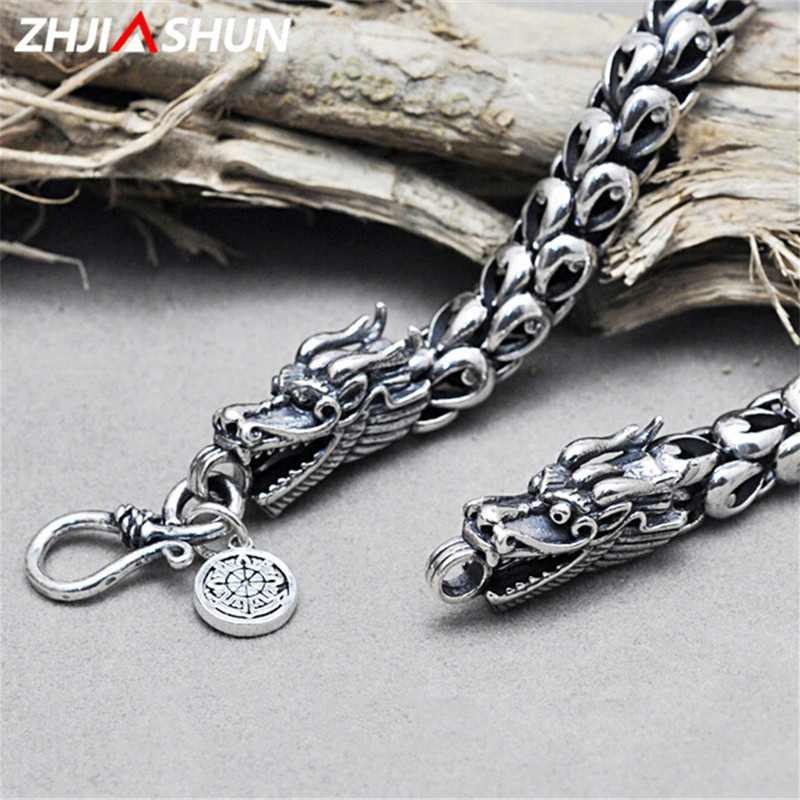 ZHJIASHUN 925 Sterling Silver Dragon Necklace for Men Mens Punk Style Thai Silver Dragon Head Jewelry Male Birthday Gift punk style silver plated etched star circle pendnat necklace for men