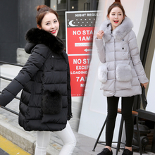 2016 medium-long winter jacket women plus size clothing slim outerwear large fur collar down coat female thick long sleeve parka