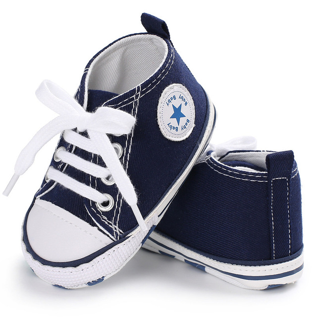 2020 Spring Autumn Canvas Toddler Baby Shoes Girls Boys First Walkers Baby SneakersLace Newborn Baby Moccasins Crib Shoes