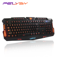 FELYBY M200 3 Color Switch Gamer Backlight USB Wired Mechanical Feel PC/Laptop Computer Keyboard Blue/Red/Purple