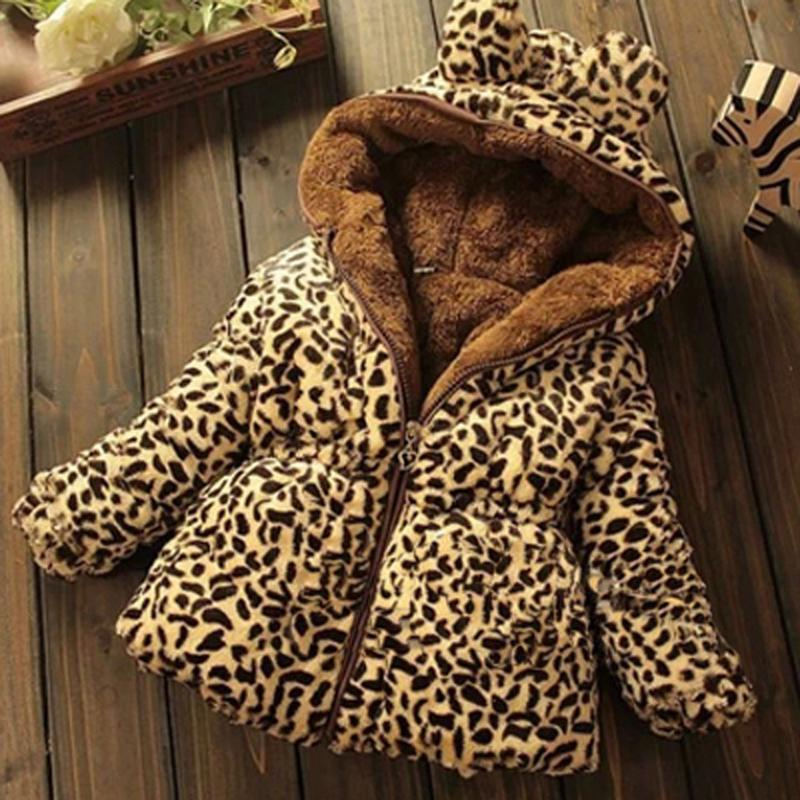 Children s Clothing Winter Coat Thicker Section Leopard Baby Leopard Coat Warm Padded Jacket Sherpa