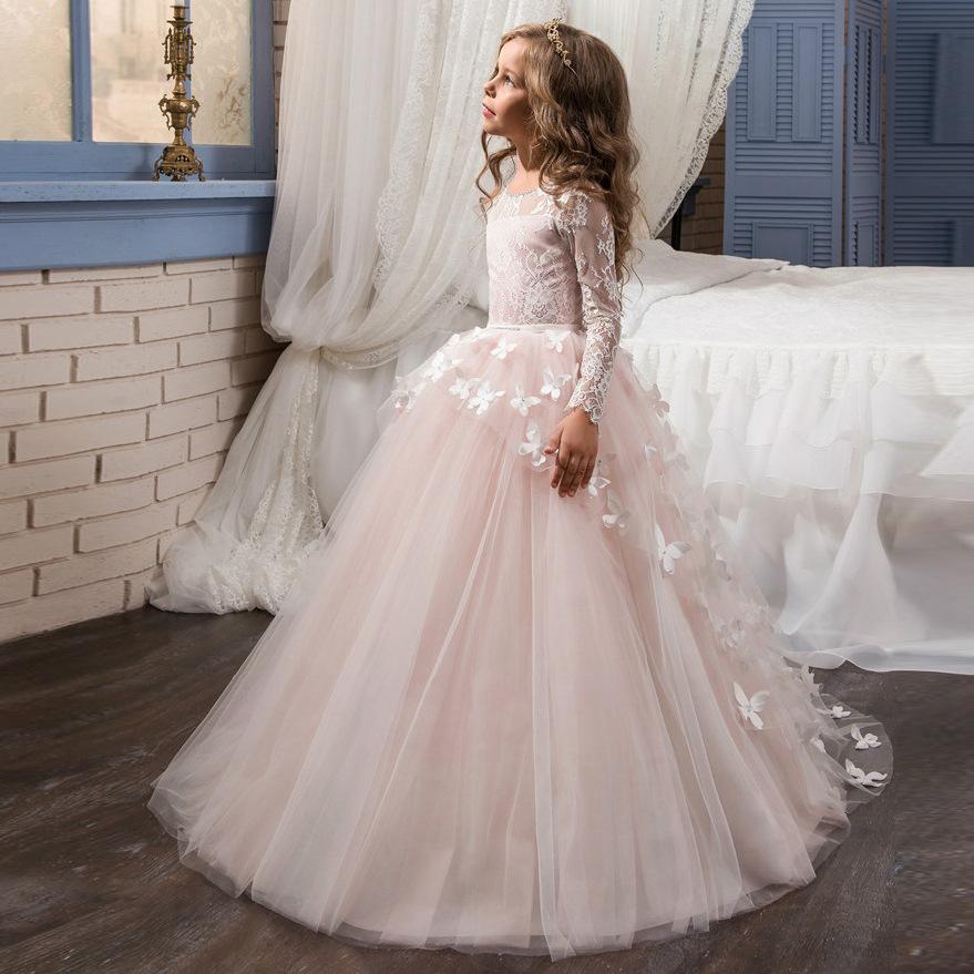 Butterfly Appliques Lace Ball Gowns Girls Party Wedding Prom Dresses Full Sleeves Flare Stunning Flower Girls