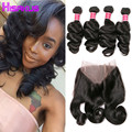 Brazilian Loose Wave With Frontal Closure 360 Lace Frontal With Bundles 4 Bundles With Frontal Brazilian Bundles With Closure