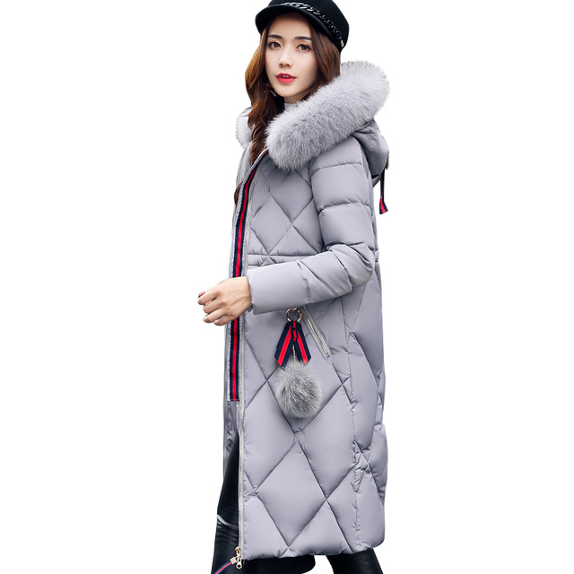 2017 New Fashion Hooded Larger Fur Collar Women Winter Jackets and Coats Female Cotton Padded Long Parkas Ladies Snowwear 1837